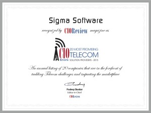 Sigma Software CIO Review 20 Most Promising Telecom Solution Providers 2015 Certificate